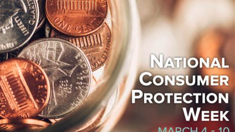 Jar of money with text that reads'National Consumer Protection Week March 4-10.