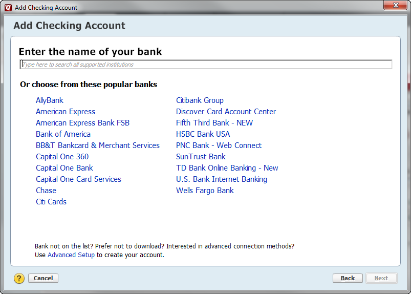 Screen shot of how to add a checking account