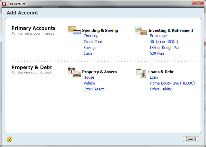 Screen shot of the Add Account Menu