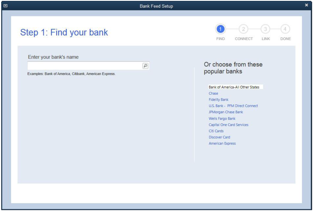 Screen shot of Step 1: Find your bank