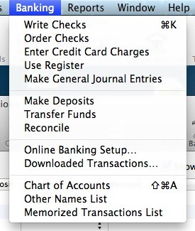 Screen showing drop down menu with highlight on Online Banking Setup