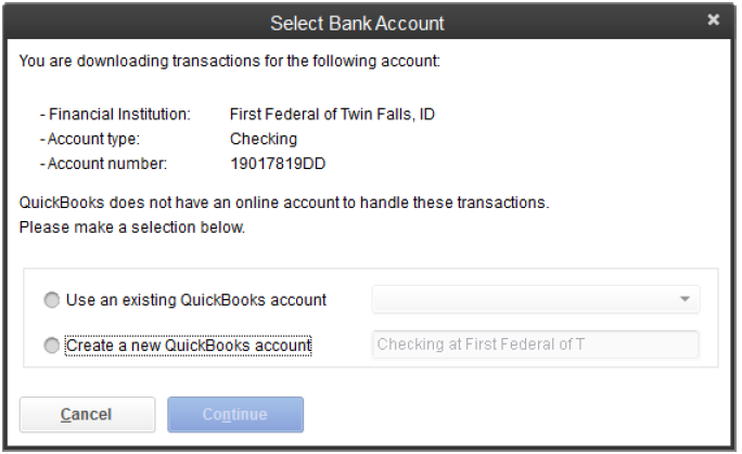 Screen Shot of Select Bank Account Window