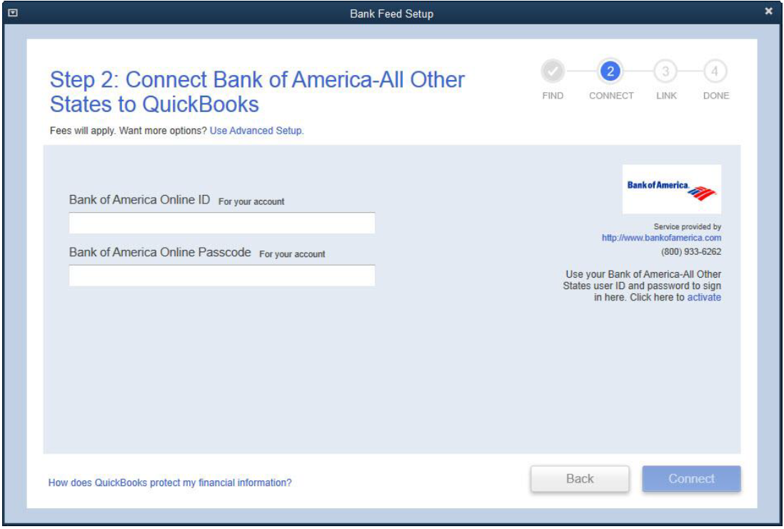 Screen shot of Step 2: Connect Bank of America - All other States to QuickBooks