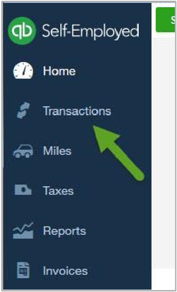"""Menu with arrow pointing to """"transactions"""""""