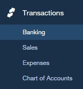 View of the Transactions menu