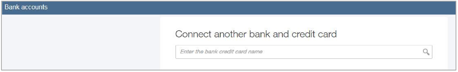 Screen shot of bank accounts and how to connect another card