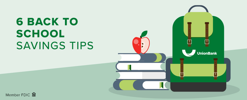 6 Back To School Savings Tips; Backpack and stack of books with the apple on top