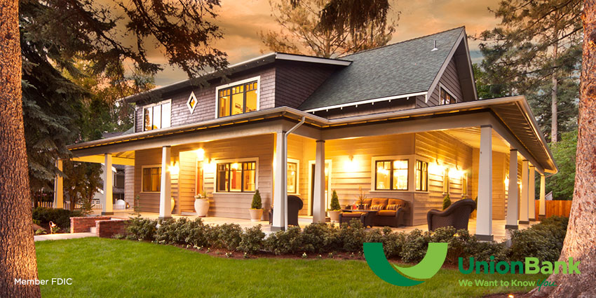 Mortgage lending page header, image of house at dusk with Union Bank logo