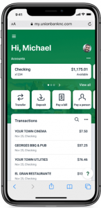online banking dashboard on mobile